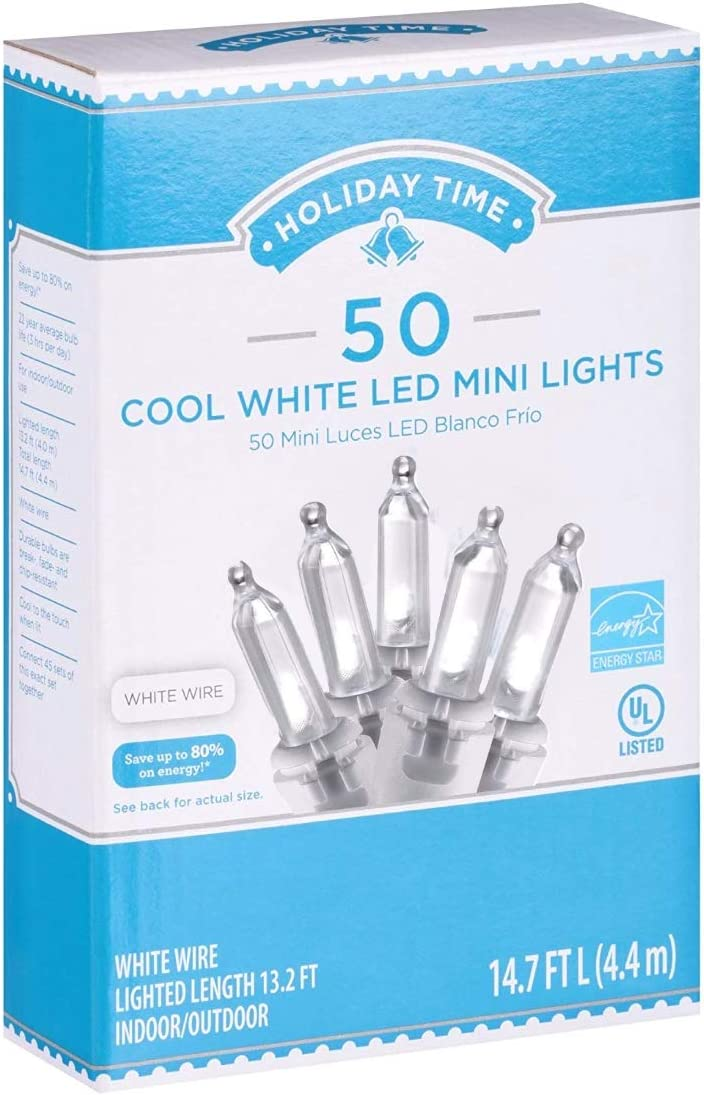300 Count Cool White Holiday Time LED Mini Christmas Lights Brand New