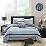 D&H 4 Piece Boys Navy Blue White Grey Stripes Comforter Twin/Twin XL Set, Horizontal Gray Striped Bedding Rugby Stripe Sports Themed Nautical Pattern Modern Lines Pattern Dorm College, Polyester