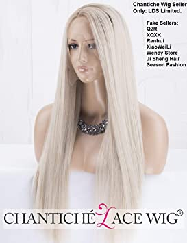 Chantiche Natural Looking Dark Roots Long Ombre Blonde Wig Straight Hair  Synthetic Lace Front Wigs UK 89fa6412a