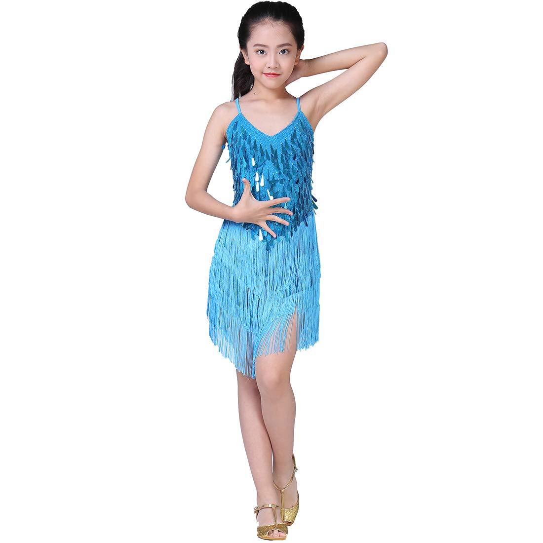 Sequin Tassel Skirt Latin Dance Costumes for Kids Salsa Ballet Tango Rumba Ballroom Dancewear Magogo Girls Dancing Dresses