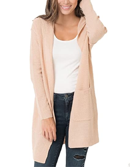 6e88919475 Image Unavailable. Image not available for. Color  Imysty Womens Oversized Sweater  Cardigans Open Front Hooded Knit Outwear with Pockets