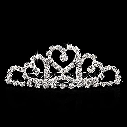 Abeillo cristal princesa Corona Rhinestone peine corona novia corona cumpleaños Tiara plata: Amazon.es: Joyería