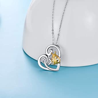 16K GoldRhodium Plated Ball Chain Valentine/'s Day Necklace Resin Necklace Real Ladybird Beetle Heart Necklace