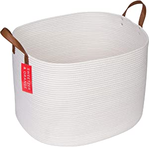 "Sweetzer & Orange Extra Large Woven Cotton Rope Storage Basket – 23""x20.5""x15.5"" w/Vegan Leather - Blanket Storage Baskets, Laundry and Toy Storage, Nursery Hamper - Off White XXL for Living Room"