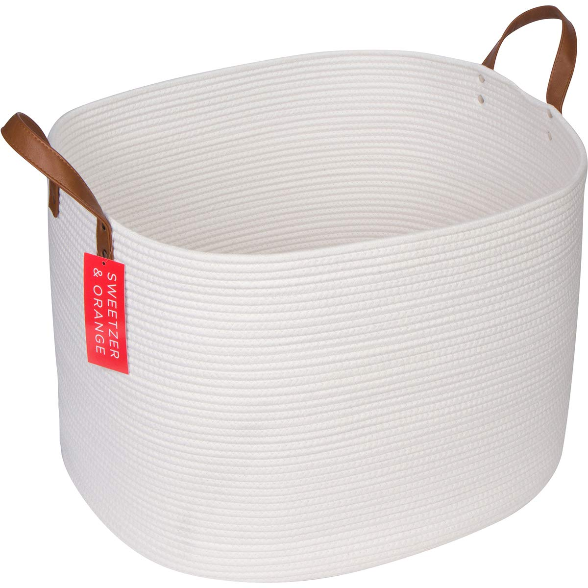 Sweetzer & Orange Extra Large Woven Cotton Rope Storage Basket - 23''x20.5''x15.5'' w/Vegan Leather - Blanket Storage Baskets, Laundry and Toy Storage, Nursery Hamper - Off White XXL for Living Room by Sweetzer & Orange