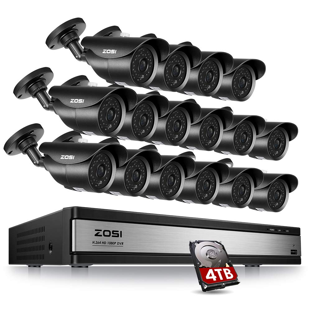 ZOSI 16Channel 1080P HD Security Camera System,16CH 4-in-1 DVR with 16pcs 2.0MP Waterproof Surveillance Cameras Indoor Outdoor, Including 4TB HDD for 24 7 Recording Remote Home Monitoring