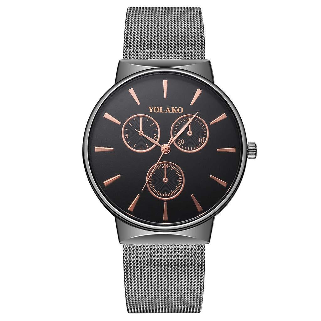 Fashion Men's Watch Quartz Stainless Steel Band New Strap Analog Wristwatch 2019 Spring Deals!Valentine's Day Present (B,Black)