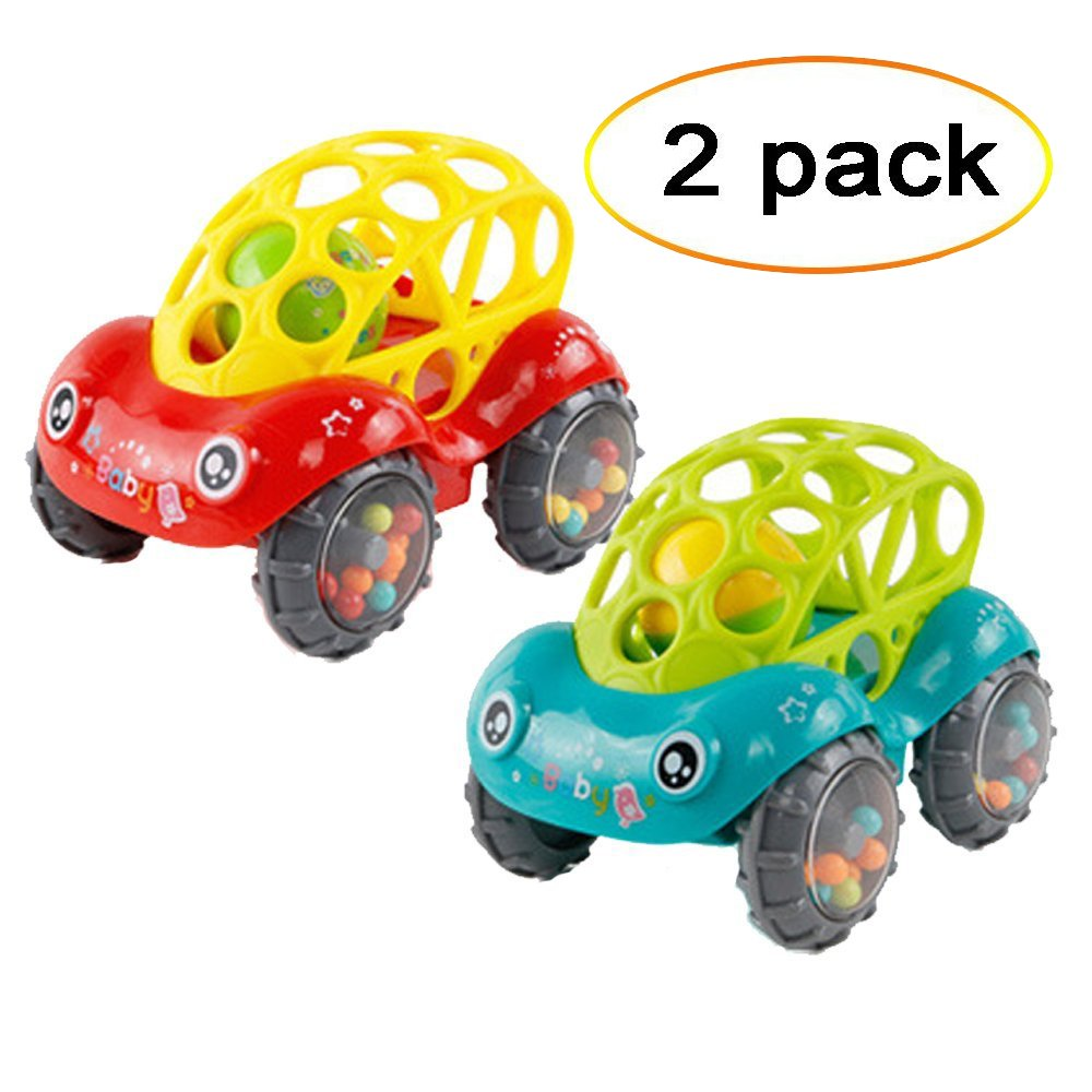 Bomach 2 Pieces Baby Toy Cars Soft InfantRattle & Roll Toy Cars Easy to Grasp with Clear Rhythm Sounds for Kids,Toddlers(1 Red +1 Green)