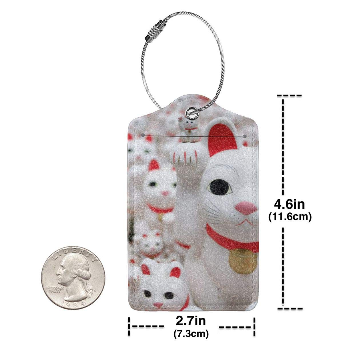 Lucky Cat Travel Luggage Tags With Full Privacy Cover Leather Case And Stainless Steel Loop