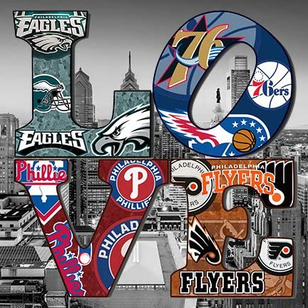 PHILADELPHIA City collage on LOVE on CANVAS stretched on wood Wall art Decor Made