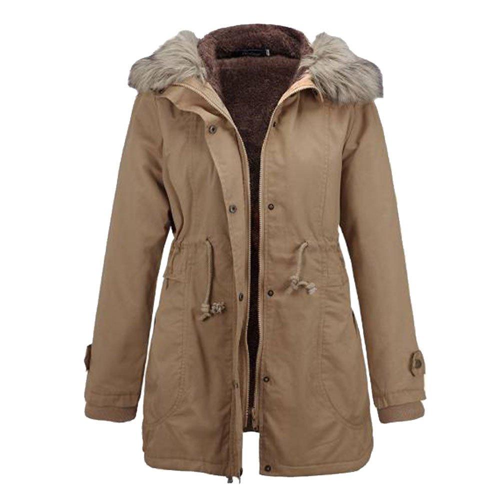 LINGMIN Women's Faux Fur Hooded Parka Jacket Winter Sherpa Lined Anorak Safari Coats W_0621AnoraksCoats01
