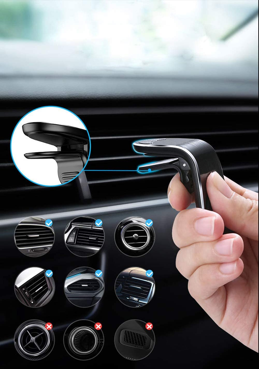 Black FACATH Magnetic Car Phone Cell Phone Bracket Stand Compatible with for iPhone SE 11 Pro XS Max XR X 8 /& All Phone Car L Shape Magnetic Phone Holder in Car 360/°Rotation Magnetic Car Mount