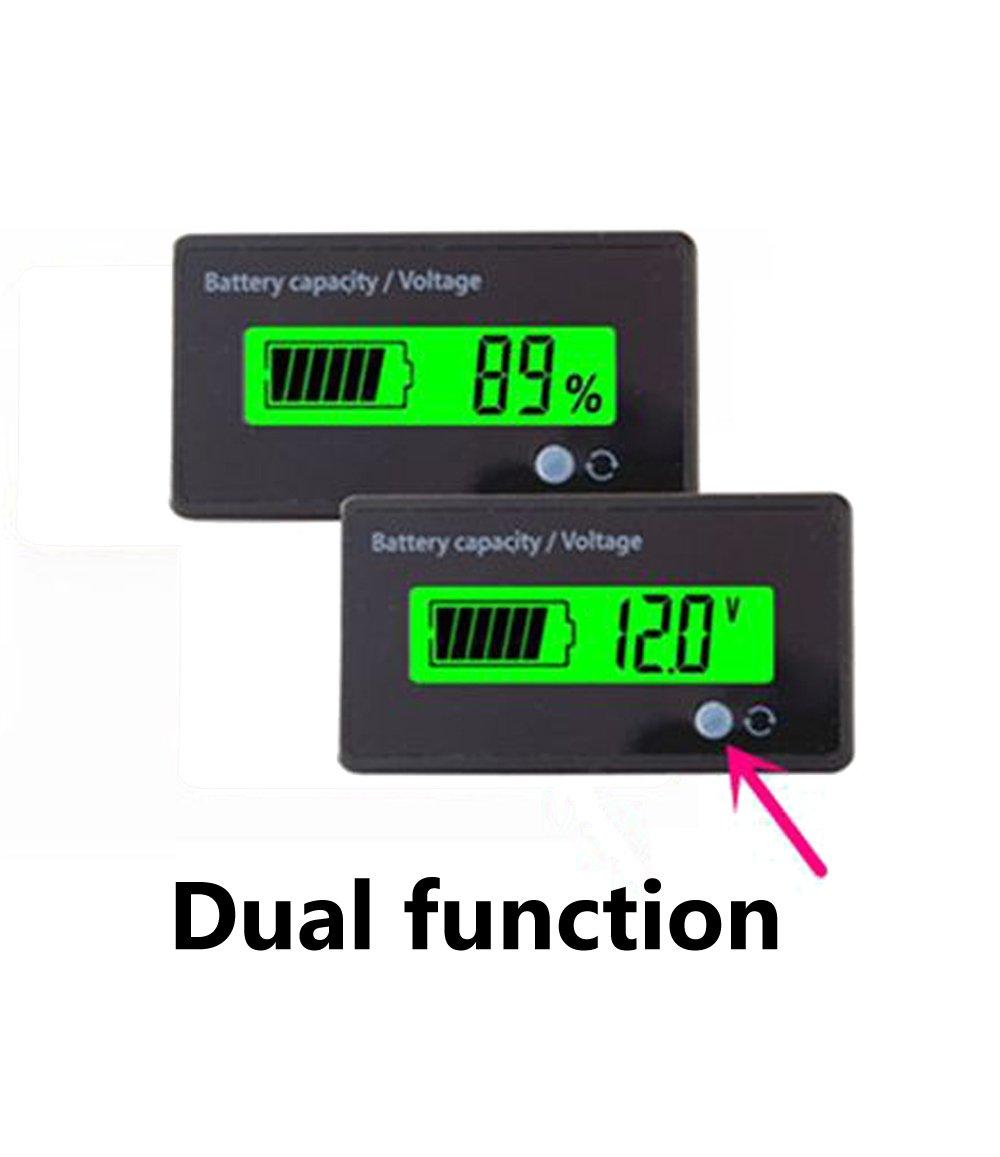 Multifunctional 12V LCD Battery Capacity Monitor Gauge Meter for Lead-acid Battery Motorcycle Golf Cart Car, Green