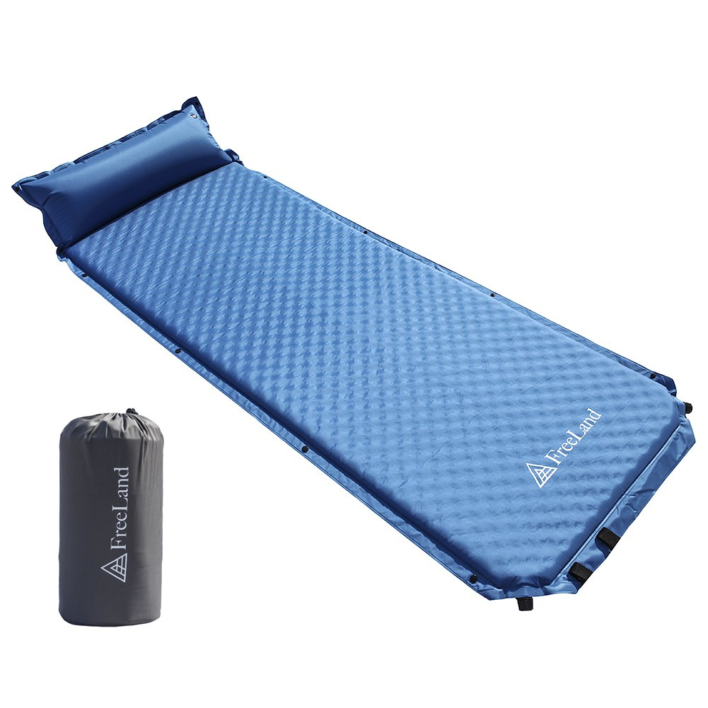 FreeLand Camping Sleeping Pad Self Inflating with Attached Pillow, Compact, Lightweight, Large, Light Blue Color by FreeLand