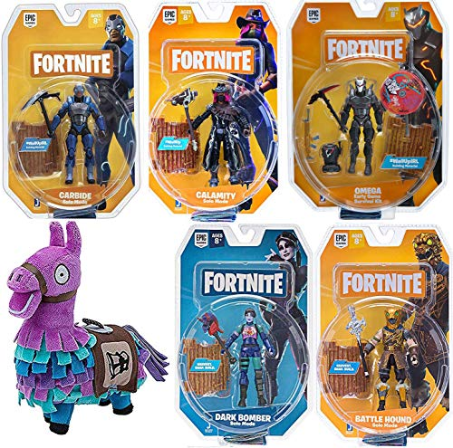 Fortnite Six Pack Team Victory Action Figure Omega Early Bundled with Carbide + Calamity Solo Mode + Battle Royale Dark Bomber + Battle Hound & Loot Llama 6-Items