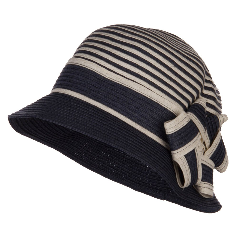 Jeanne Simmons Star Ribbon Paper Striped Cloche - Navy OSFM by Jeanne Simmons