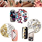 High Quality Professional Nail Art 3D Decorations Set of 3mm And 4mm Metal Studs Triangle Silver Gold, Square 6 Colors And Pyramid Spikes By VAGA