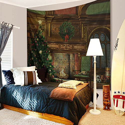 Mural Christmas - BEWAVE Christmas Decorations Wall Hanging, 3D Xmas Printed Polyester Fabric Holiday Wall Tapestry Art Valentine's Day for Living Room, Home, Bedroom Mural (80x60Inches, Christmas Fireplace)