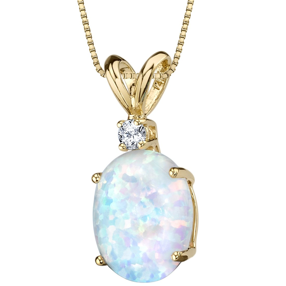 2c5c72bef6c Amazon.com  14 Karat Yellow Gold Oval Shape Created Opal Diamond Pendant   Jewelry