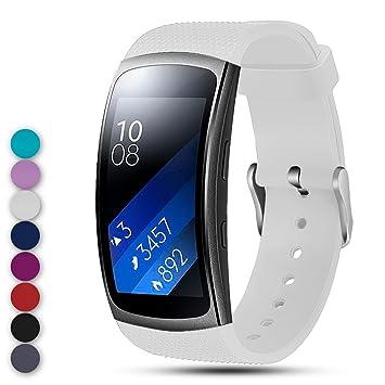 Feskio Correa de Repuesto para Samsung Gear Fit2 Pro/Fit2 SM-R360, Correa de Silicona Suave, Pulsera Deportiva para Samsung Gear Fit2 Pro y Fit 2 ...