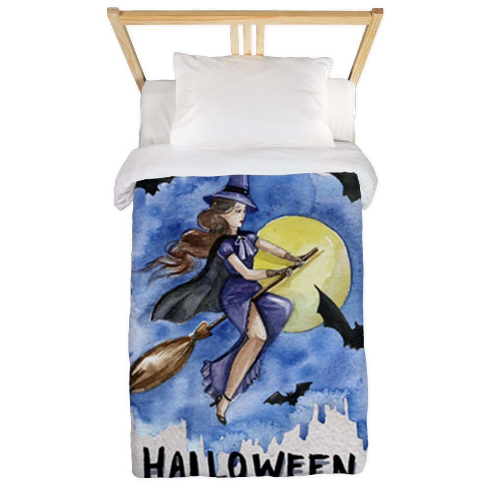 Twin Duvet Cover Halloween Witch Riding Broom Bats
