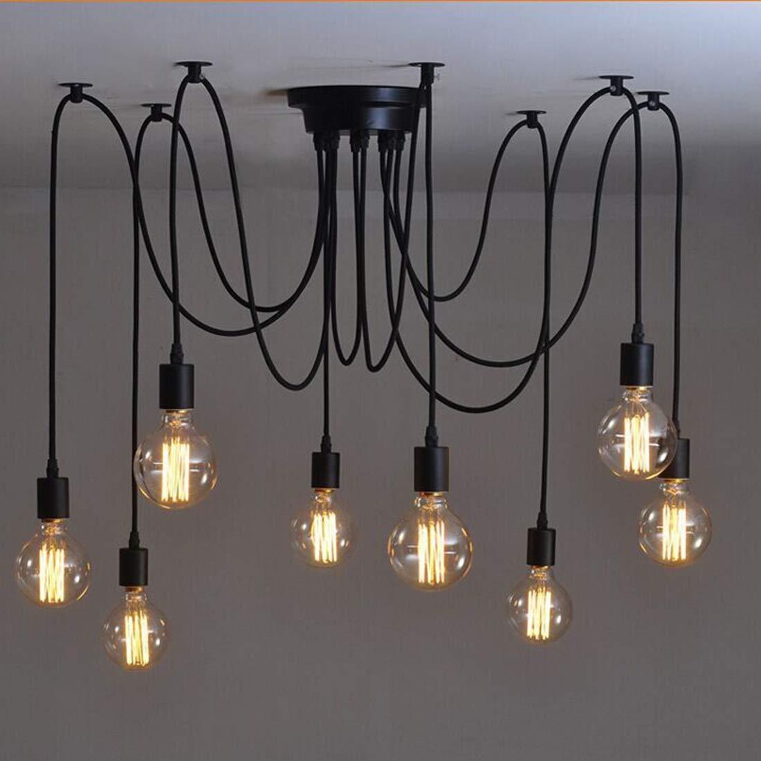 KARTELEI E27 Loft Antiken Kronleuchter Industrielle Esszimmer Licht Einstellbare DIY Deckenleuchte Pendelleuchte Adapter Keine Lampen (Farbe   6 Heads, Größe   1.5m)
