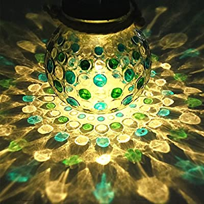 Sogrand Solar Powered Hanging Glass Jar Patio Pathway Light