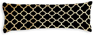 Gold and Black Quatrefoil Body Pillow Cover Pillowcases Cushion with Hidden Zipper Closure for Sofa Bench Bed Home Decor 20