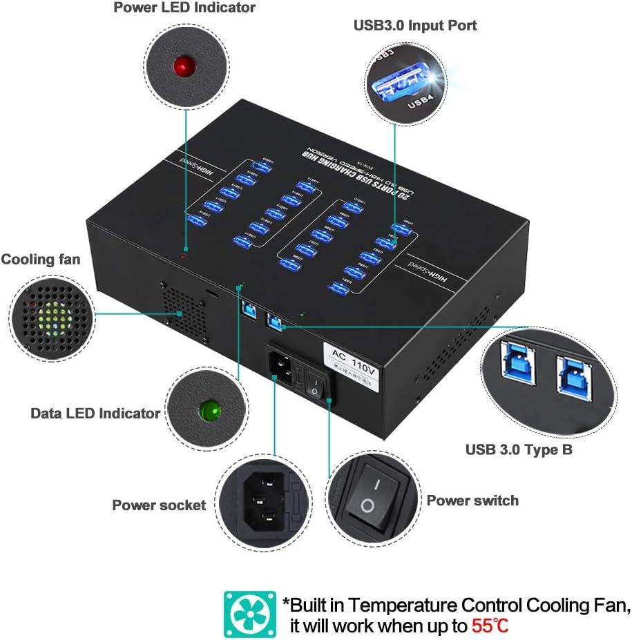 Sipolar USB 3.0 Hub Industrial 20-Port USB Hub//Charging Station Support Mobile Devices//Tablets Refurbishing 5120Mbps