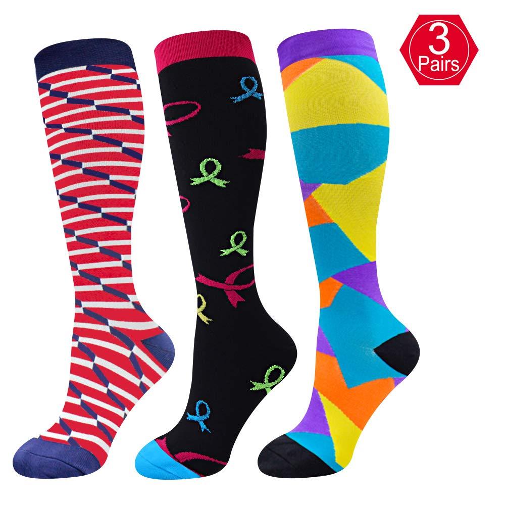 EHbee 3 Pairs Compression socks Women & Men 15-20 mmhg, Perfect Compression Stockings Nurse,Running, Maternity Pregrancy, Flight, Travel, Medical,Sport. (Assorted2, L/XL)