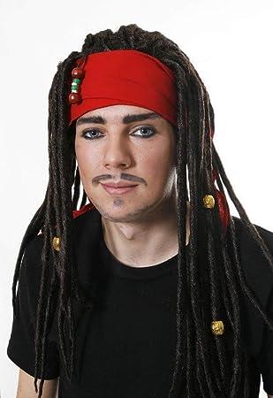 DREADLOCKS WIG RED BANDANA LIKE JONNY DEPP PIRATES CARRIBEAN (peluca)