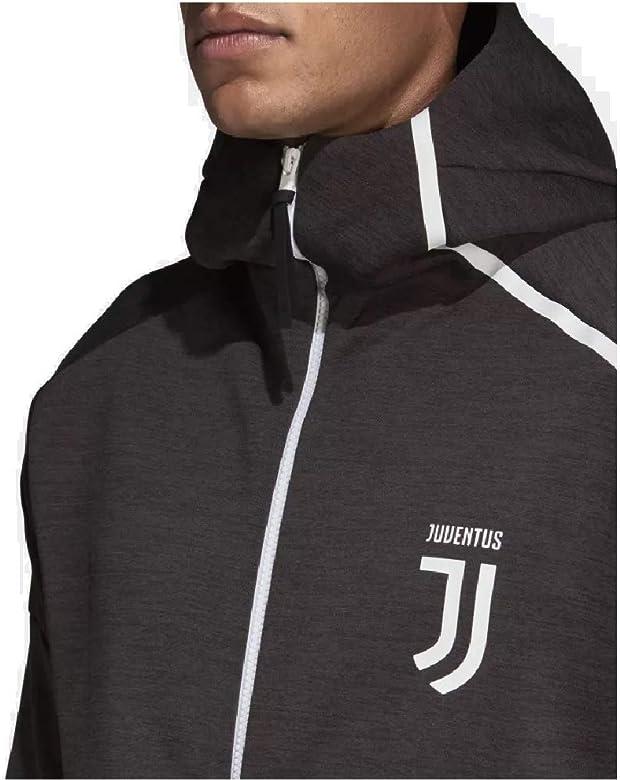 6a9b715835e5d adidas Mens 2018/19 Juventus Z.N.E. Full-Zip Hoodie Carbon/White ...