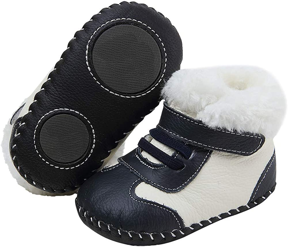 Baby Genuine Leather Winter Warm Snow Boots Soft Bottom Non-Slip Shoes for Boys Girls 0-18Months