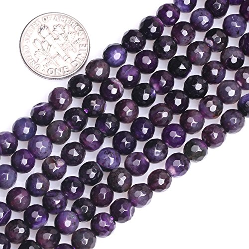 """GEM-inside Banded Purple Agate Gemstone Loose Beads Natural Energy Power Beads For Jewelry Making Round 6mm Faceted 15"""""""