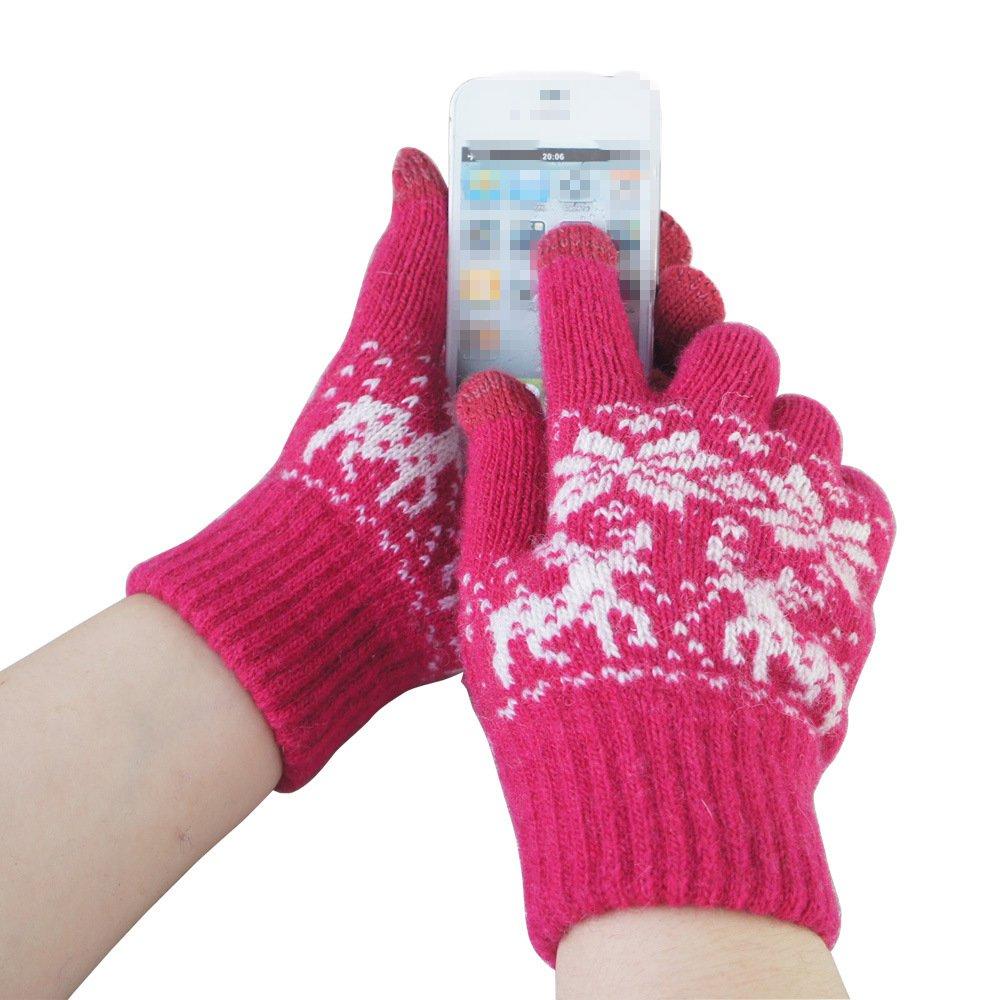 LI& HI Damen Accessory gestrickte paare Handwärmer Induction Fingern berühren Weihnachten Hirsch Wolle Touch warme Wolle Handschuhe Gloves für Touch Screen Smartphones Funktion(für IPHONE / SUMSUNG / iPad / HTC etc.) - Mehrere Farben
