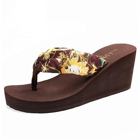 85a90e0caeb9 Caiwenping Women s Wedge Flip-Flops Women Bohemia Floral Beach Sandals  Wedge Platform Thongs Slippers Flip Flops 3 Colors (Color   Brown