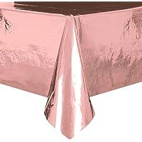 Unique Party 53473 Foil Rose Gold Plastic Tablecloth, 9ft x 4.5ft, 9 x 4.5 ft