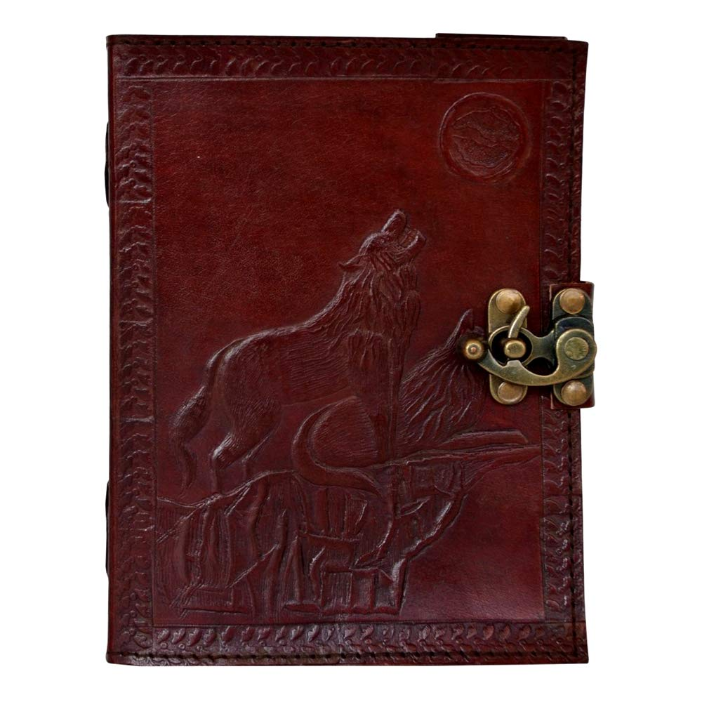 Leather Journal Wolf of Night Embossed Writing Notebook Handmade Leather Antique Sketchbook College Handbook Unlined Paper Daily Notepad for Men & Women Lined Paper 120 Pages 5 x 7 inches