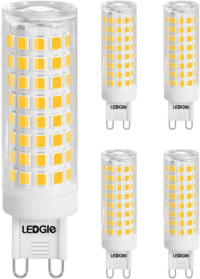 G9 LED Light Bulb 5Pcs, 10W(100W Halogen Equivalent), 100LEDs 900LM Warm White Light, Ceramic G9 Bi Pin Base Bulbs for Ceiling Light and Home Lighting, No Flicker, Non-dimmable