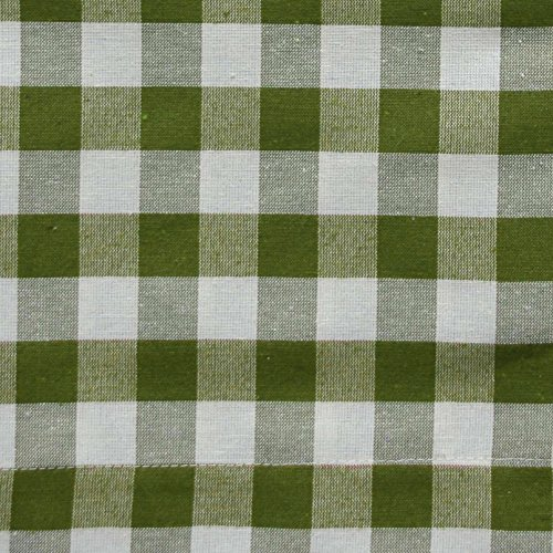 Sage Green 3 Piece Gingham Check Kitchen Window Curtain Set: Plaid, Cotton Rich, 1 Valance, 2 Tier Panels (Matching 3 Piece Window Curtain Set)