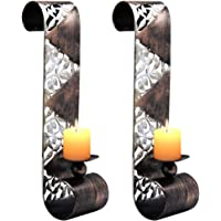 Shelving Solution Wall Sconce Candle Holder Metal Wall Art for Living Room, Bathroom, Dining Room Decoration, Set of 2