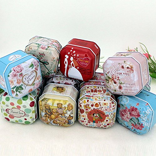 TooGet Elegant Tinplate Empty Tins, Shabby Chic Tins for DIY Candles, Dry Storage, Spices, Tea, Candy, Party Favors, and Gifts - Random Color(Square 6-Pack) -