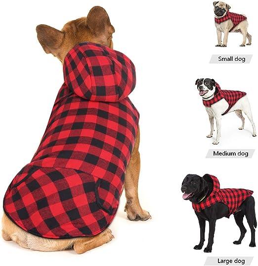 Idepet Camisa con capucha a cuadros para perros, ropa de invierno para mascotas Chaleco Disfraces Abrigo suave y cálido para perros pequeños medianos grandes Gatos: Amazon.es: Productos para mascotas