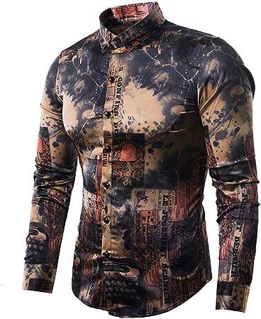 W&TT Camisa Estampada Vintage, Camisa De Manga Larga Slim para Hombre,Multicolored,L: Amazon.es: Hogar