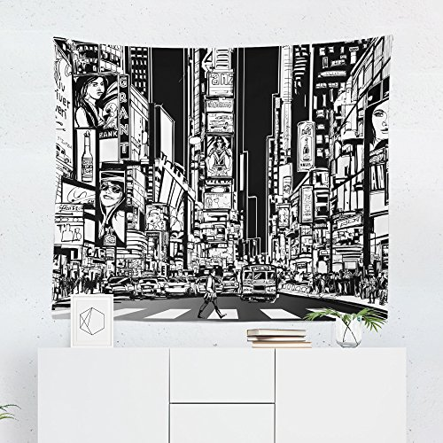 New York Times Square Tapestry - Manhattan City Night Wall Tapestries Hanging Décor Bedroom Dorm College Living Room Home Art Print Decoration Decorative - Printed in the USA - Small Medium Large ()