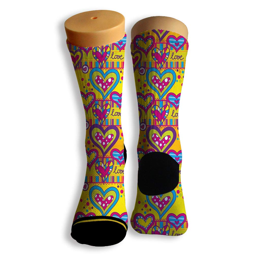 Basketball Soccer Baseball Socks by Potooy Colorful Hearts Doodle 3D Print Cushion Athletic Crew Socks for Men Women