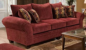 Amazoncom Clearlake Queen Sleeper Sofa in Burgundy Kitchen Dining