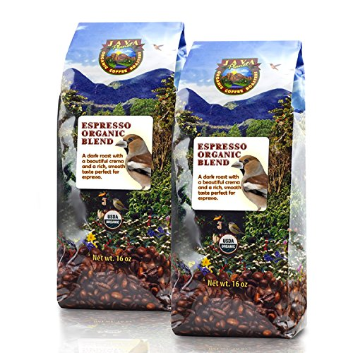Java Planet - Espresso USDA Organic Coffee Beans, Dark Roast Arabica Gourmet Specialty Grade A, packaged in two 1 LB bags