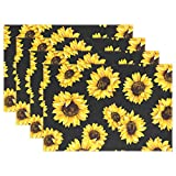 Yochoice Hipster Beautiful Yellow Sunflowers Flowers Placemat Plate Holder Set of 6, Stylish Polyester Table Place Mats Protector for Kitchen Dining Room 12'' x 18''