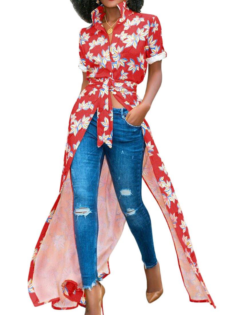 YYear Women's African Print Dashiki Button Down Short Sleeve Swing Cocktail Dress Red L